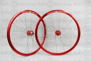 Weinmann DP18 Track Wheels Anodized Red Silver Fixed Gear Non Machined
