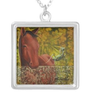 Red Horse and Praying Mantis Necklace