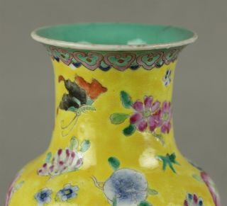 Stunning Antique Chinese Yellow Ground Famille Rose Vase Early 19th C