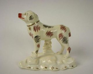 Antique Staffordshire Standing Dog Figurine Porcelain Early 19th
