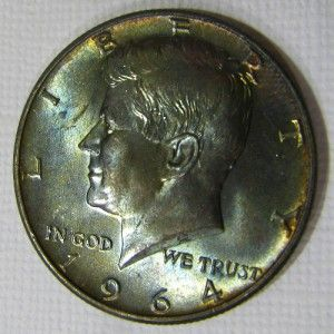 1964 KENNEDY 50c BLUE GREEN GOLD 2 SIDED TONED CH BU   MIKESARTIFACTS