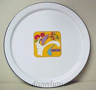 MUST SEE PETER MAX WHITE ENAMEL LARGE ROUND SERVING TRAY   EXCELLENT