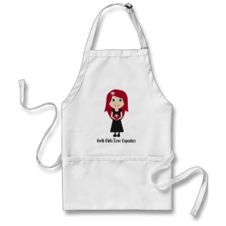 Goth Girls Love Cupcakes Cute Cartoon Character Apron