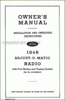 1946 Ford Radio Installation and Owners Manual 46 Ownerinstallation