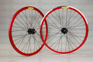 Velocity Deep V Track Wheels Red Fixed Gear 700c New