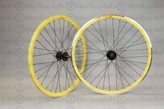 Velocity Deep V Track Wheels Yellow Fixed Gear 700c New