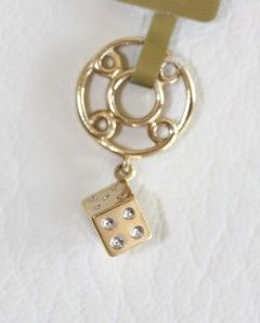 Story Wheels 14k Yellow Gold Dice Charm