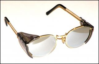 Retro Style Cowboy Action Shooting Glasses Gold Silver