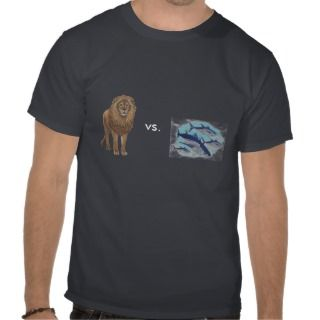 Lion versus School of Tuna Tshirts