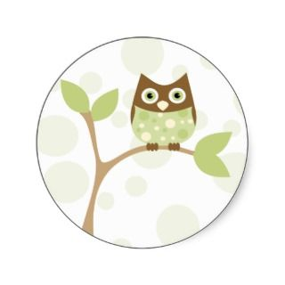 Soft Green Baby Owl Round Stickers