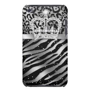 Chic Leopard Zebra iPod Barely There Black Crown iPod Touch Case Mate