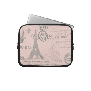 romantic pink vintage paris eiffel tower computer sleeves
