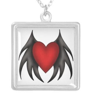Gothic red heart and black wings necklaces