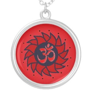 Pinwheel and Om Necklace   Yoga Jewelry