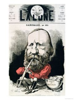 Cover Illustration of La Lune Magazine Featuring Giuseppe Garibaldi, September 1867 Giclee Print by André Gill