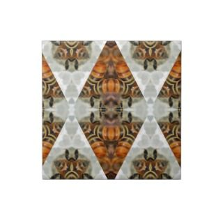 Honey bee mandala ceramic tile