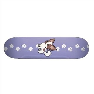 Cartoon Chihuahua (lilac parti long coat) skateboards by SugarVsSpice