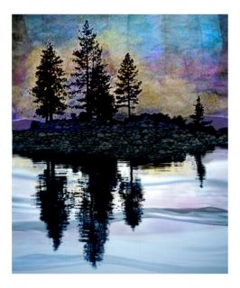 Tree Silhouettes on Autumn Lake Photographic Print by Elaine Plesser