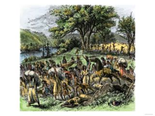 Battle of Bad Axe in Wisconsin, Ending the Black Hawk War, c.1832 Giclee Print