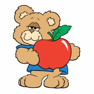 School Days Apple Teddy Bear Photo Cut Outs