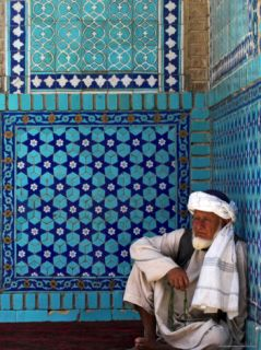 Pilgrim at the Shrine of Hazrat Ali, Who was Assassinated in 661, Mazar I Sharif, Afghanistan Photographic Print by Jane Sweeney