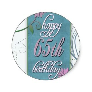 Happy 65th birthday with fun flowers stickers