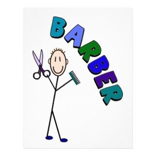 Barber Stick Person Design With Scissors/Comb Custom Letterhead