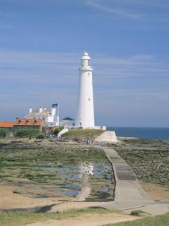 Lighthouse, St. Marys Island, Whitley Bay, Northumbria (Northumberland), England Photographic Print by Michael Busselle