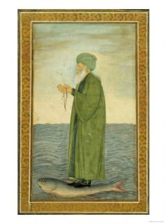 Khwaja Khizr Khan Riding on the Back of a Fish, India Giclee Print