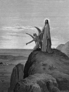 Illustration by Gustave Dore of The Temptation of Christ from the Bible Premium Photographic Print