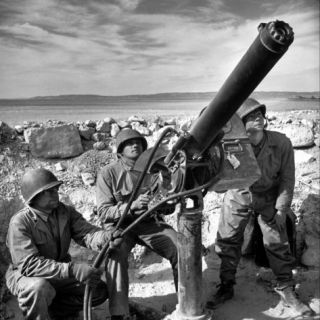 Air Force Soldiers Manning Anti Aircraft Gun at Base During Allied Campaign in North Africa, WWII Photographic Print by Margaret Bourke White