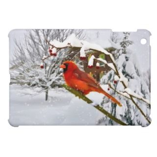 Cardinal Bird in the Snow iPad Mini Case
