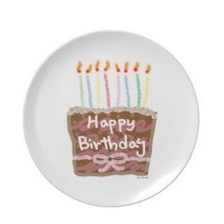 Happy birthday cake party plate