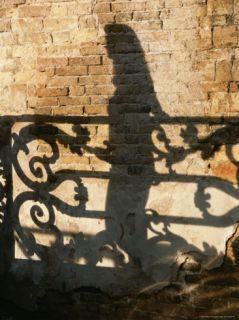 Shadows of a Woman and a Cast Iron Railing on a Brick Wall Photographic Print by Todd Gipstein