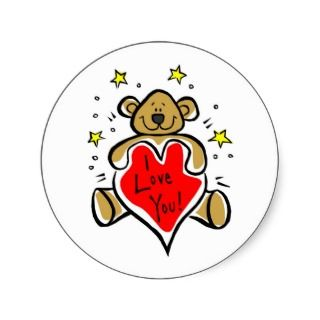 Love You Teddy Bear Valentine Stickers