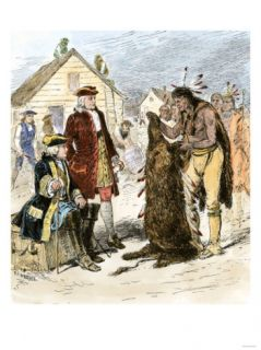 Tomo Chichi Offering Furs to James Olglethorpe, Georgia Colony Giclee Print