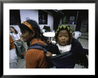 Small Baby on the Back of Young Girl, Nepal Pre made Frame