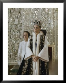 Portrait of Queen Farah Pahlavi Dressed in a Ceremonial Attire, Gulistan Palace, Tehran, Iran Pre made Frame
