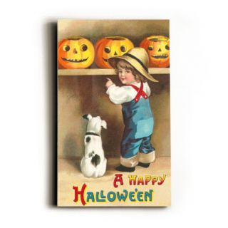 A Happy Halloween, Dog and Boy with Jack OLantern Wood Sign