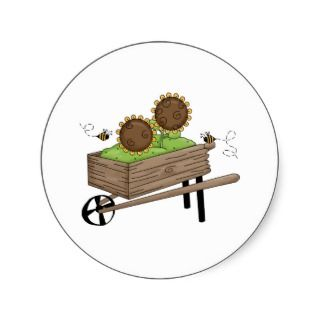 Sunflowers in Wheel Barrel Sticker