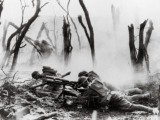 American Soldiers of 23rd Inf. Firing 37mm Machine Gun at German Positions, Argonne Forest, WWI Photographic Print