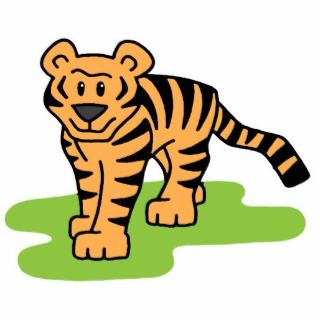 Cartoon Clip Art Bengal Tiger Big Cat with Stripes Cut Outs
