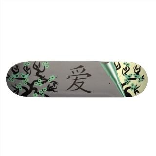Love Birds On Sakura Tree And Chinese Love Symbol Custom Skateboard