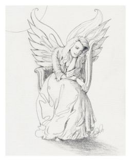 Lonely Guardian Angel In The Moonlight Giclee Print by sylvia pimental