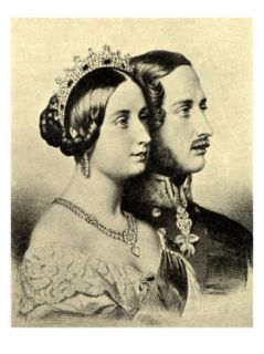 Queen Victoria and Prince Albert, Portraits in Profile Giclee Print by . .