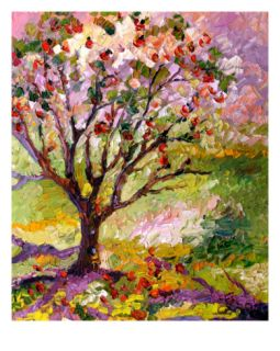 Grandmas Apple Tree Oil Painting By Ginette Giclee Print by Ginette Callaway