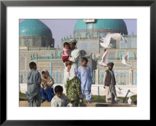 Family Feeding the Famous White Pigeons, Shrine of Hazrat Ali, Mazar I Sharif, Afghanistan Pre made Frame