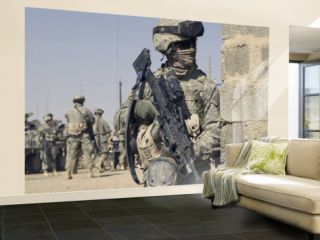 Us Army Soldier Armed with a Mk 48 Light Machine Gun, Provides Rear Security During Civil Affairs Wall Mural – Large