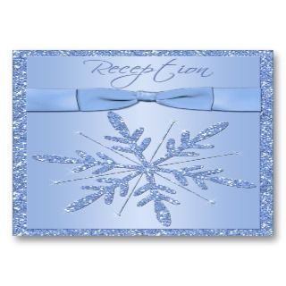 Glittery Blue Snowflake Enclosure Card Business Cards