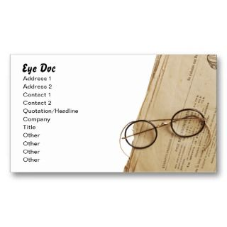 Eye Doctor Specs & Glasses Business Card Templates